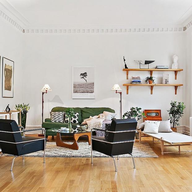 Salon w stylu skandynawskim. 15 pięknych wnętrz