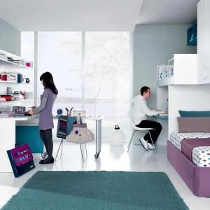 Wykorzystując łózko piętrowe można wyznaczyć odrębne strefy w pokoju siostry i brata. Dla zapewnienia większej prywatności mebel tradycyjny oraz na antresoli można oddzielić ścianką. Fot. GAB.