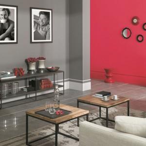 Chłodne szarości idealnie podkreślą minimalistyczną przestrzeń salonu. Skontrastowane z mocnym różem zrobią wrażenie. Fot. Tikkurila.
