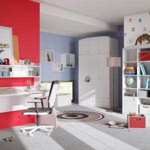 Aby wzmocnić charakter wnętrza, jedną ze ścian można pomalować farbą w intensywnym odcieniu. Na jej tle znakomicie będę wyglądały białe meble, np. z kolekcji Basic marki Meblik. Fot. Meblik.