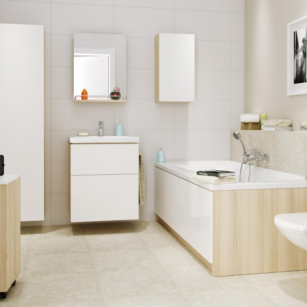 Meble do łazienki. Modne zestawy ocieplone drewnem