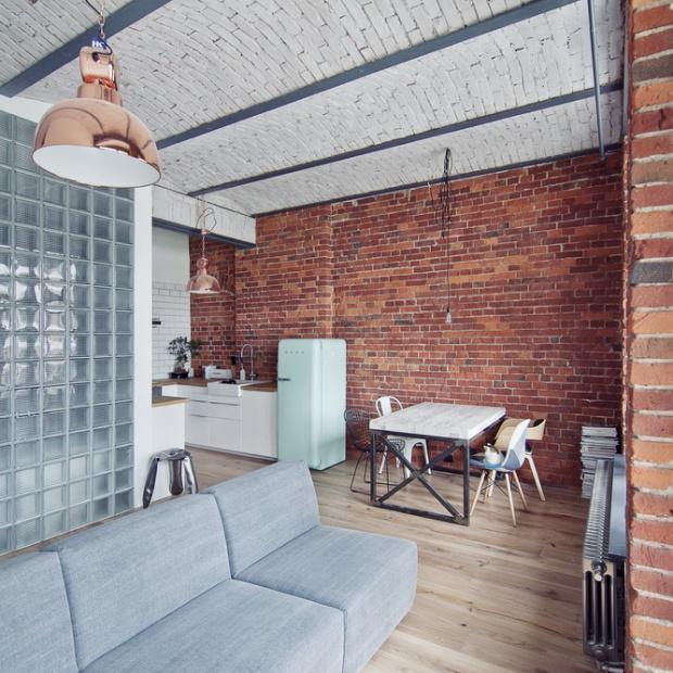Wnętrze w stylu loft. Modne mieszkanie we Wrocławiu