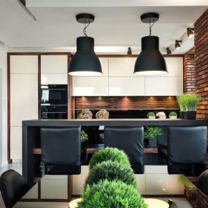 Dwie, czarne lampy w loftowej stylistyce oraz czerwona, ceglana ściana nadają białej zabudowie w wysokim połysku soft-loftowy wyraz. Projekt: Małgorzata Błaszczak. Fot. Pracownia Mebli Vigo.