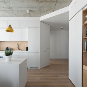 Zabudowa aneksu kuchennego harmonizuje z meblami na ścianie w salonie, będąc jednocześnie przedłużeniem zabudowy rozpoczętej w przedpokoju. Projekt: Normundas Vilkas. Fot. Leonas Garbacauskas.