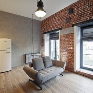 Meble wypoczynkowe w salonie to dwuosobowa sofa i nic poza tym. Właściciel postawił bowiem na minimalizm. Dekoracją wnętrza są bowiem przede wszystkim struktury na ścianach. Wzrok przyciąga również huśtawka, na której można się pobujać wyglądając przed duże okna. Fot. RED Real Estate Development.