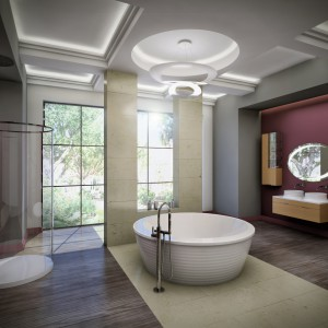 Wanna wolno stojąca Boomerang to model okrągły, w którym można brać także romantyczne kąpiele we dwoje. Fot. Vayer.