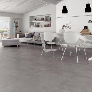 Płytki z serii Factory Porce fakturą i kolorem nawiązują do modnego betonu, nadając przestrzeni surowy charakter. Fot. Falcon Ceramicas.