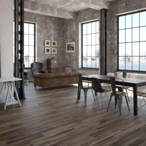 Seria płytek ceramicznych Silva to długie, smukłe poszczególne elementy, do złudzenia przypominające naturalną drewnianą deskę. Fot. Argenta.