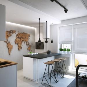 Jedną ze ścian w kuchni wykończono betonowym tynkiem, a na jego tle powieszono ciekawy dodatek dekoracyjny. Z płyt ze sklejki drewnianej wycięto mapę świata. Projekt i wizualizacje: Geometrium Design Studio.