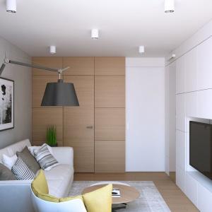 Z sypialni, pełniącej funkcję salonu można bezpośrednio przejść do garderoby, którą schowano w ścianie za panelami, pokrytymi fornirem w przyjemnym, dębowym kolorze. Projekt i wizualizacje: Geometrium Design Studio.