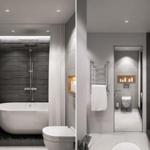 Właścicielce zależało na tym, aby łazienka - mimo, iż nie największa - miała atmosferę ekskluzywnego salonu kąpielowego z wolno stojącą wanną. Architekci wpasowali wannę we wnękę, subtelnie odznaczoną od reszty pomieszczenia, a kamień na ścianach wpisuje się w klimat salonu spa. Projekt i wizualizacje: Geometrium Design Studio.