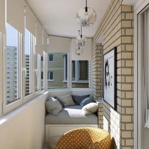 W rogu balkonu architekci zaplanowali niewielkie siedzisko, na którym można się zrelaksować czytając książkę. Projekt i wizualizacje: Geometrium Design Studio.