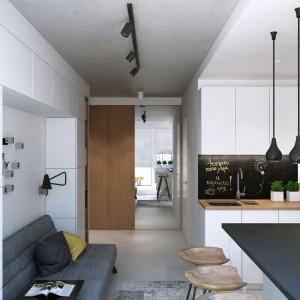 Ścianę nad blatem w kuchni pomalowano farbą tablicową. Właścicielka może notować przepisy kulinarne czy listę zakupów. Projekt i wizualizacje: Geometrium Design Studio.