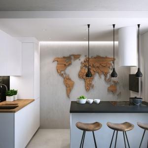 """Właścicielka lubi podróże i chciała mieć miejsce, w którym mogłaby powiesić swoje fotografie z różnych zakątków świata. Geograficzna """"tablica"""" będzie dla niej idealna. Projekt i wizualizacje: Geometrium Design Studio."""