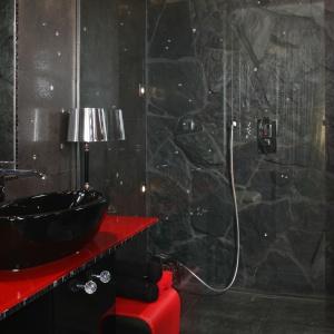 Łazienka przypomina skalną grotę za sprawą kamiennej okładziny w strefie prysznica. Proj. Dorota Banasik. Fot. Bartosz Jarosz.