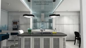 Kuchnia-Mokotów w Warszawie. Nowoczesna koncepcja kuchni z sufitem tworzącym tafle szklaną