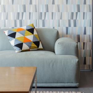 Wykończenie przesuwnych ścian można zmieniać, korzystając z dostępnych skórek. Dzięki temu domownicy mogą dowolnie kształtować aranżację salonu. Projekt: Le Studio. Fot. Thien Thach.