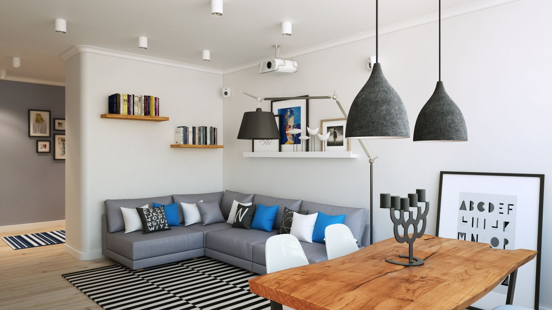 Ponieważ właściciele mieszkali kilka lat w Skandynawii, marzyło im się nowoczesne wnętrze urządzone w skandynawskim stylu. Projekt i wizualizacje: Alexei Ivanov i Pavel Gerasimov / Studio projektowe Geometrium.
