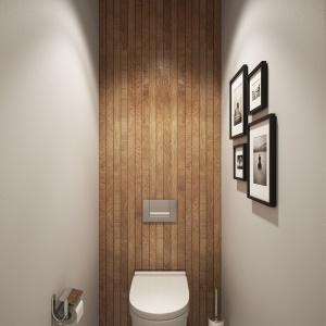 Drewniane listwy z łazienki zostały przeniesione również na ścianę i sufit w toalecie. Projekt i wizualizacje: Alexei Ivanov i Pavel Gerasimov / Studio projektowe Geometrium.