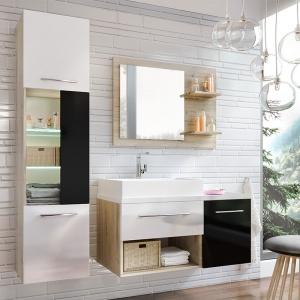 Zestaw łazienkowy Aruba marki Stolkar sprawdzi się zarówno w dużej, jak i małej łazience. Fronty z lakierowanej płyty MDF, w kolorze czarnym i białym. Ok. 2.430 zł/zestaw, Stolkar.