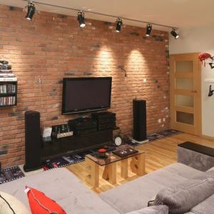 Otwartą strefa dzienna, podobnie jak całe mieszkanie, urządzono w loftowym klimacie. Podkreśla go wyłożona czerwoną cegłą ściana, przy której ustawiono regały z książkami i płytami. Projekt: Iza Szewc. Fot. Bartosz Jarosz.