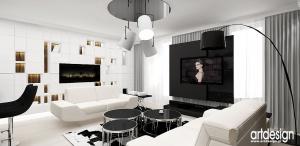 czarno-białe wnętrze salonu