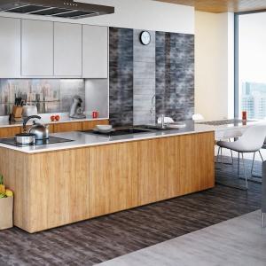 Inspiracje fakturą betonu idealnie sprawdzą się w kuchni w modnym stylu loft.  Dekor miasta dodaje nowoczesności strefie przygotowywania posiłków – płytki Konkret marki Ceramstic. Fot. Ceramstic.
