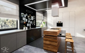 Monochromatyczna zabudowa kuchenna z drewnianą wyspą.
