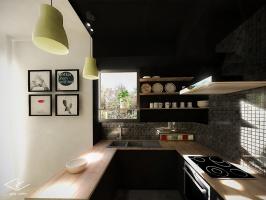 Ciemna wnęka kuchenna kontrastuje z jasną przestrzenią pokoju dziennego.