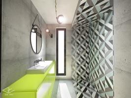 Kolorowe kafle doskonale współgrają z szarymi płytkami i soczystą żółtą szafką. Projekt wnętrza łazienki przeznaczony dla nastolatki.