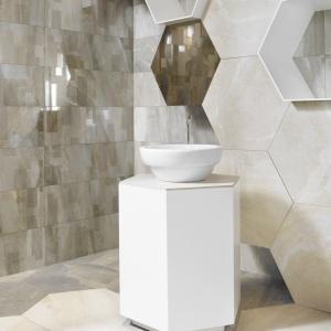 W dużym rozmiarze, jak kamień – płytki sześciokątne G-Stone Hexagonal firmy Aparici. Fot. Aparici/Coram.