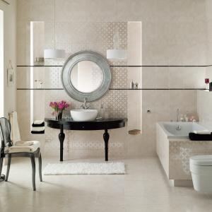 Z delikatnym wzorem beżowego kamienia - płytki ceramiczne Arvena marki Cersanit. Fot. Cersanit.