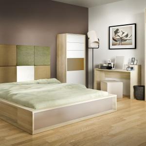 Sypialnia 3D marki Meble Vox. Tapicerowany zagłówek łóżka to ciekawy element wnętrza. Fot. Vox.