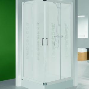 Matowe szkło ze wzorem meandra – kabina prysznicowa KN TX4 bi W14 firmy Sanplast. Fot. Sanplast.