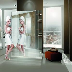 Z bardzo dużym lustrem - kabina prysznicowa Walk In Line firmy Roltechnik. Fot. Roltechnik.