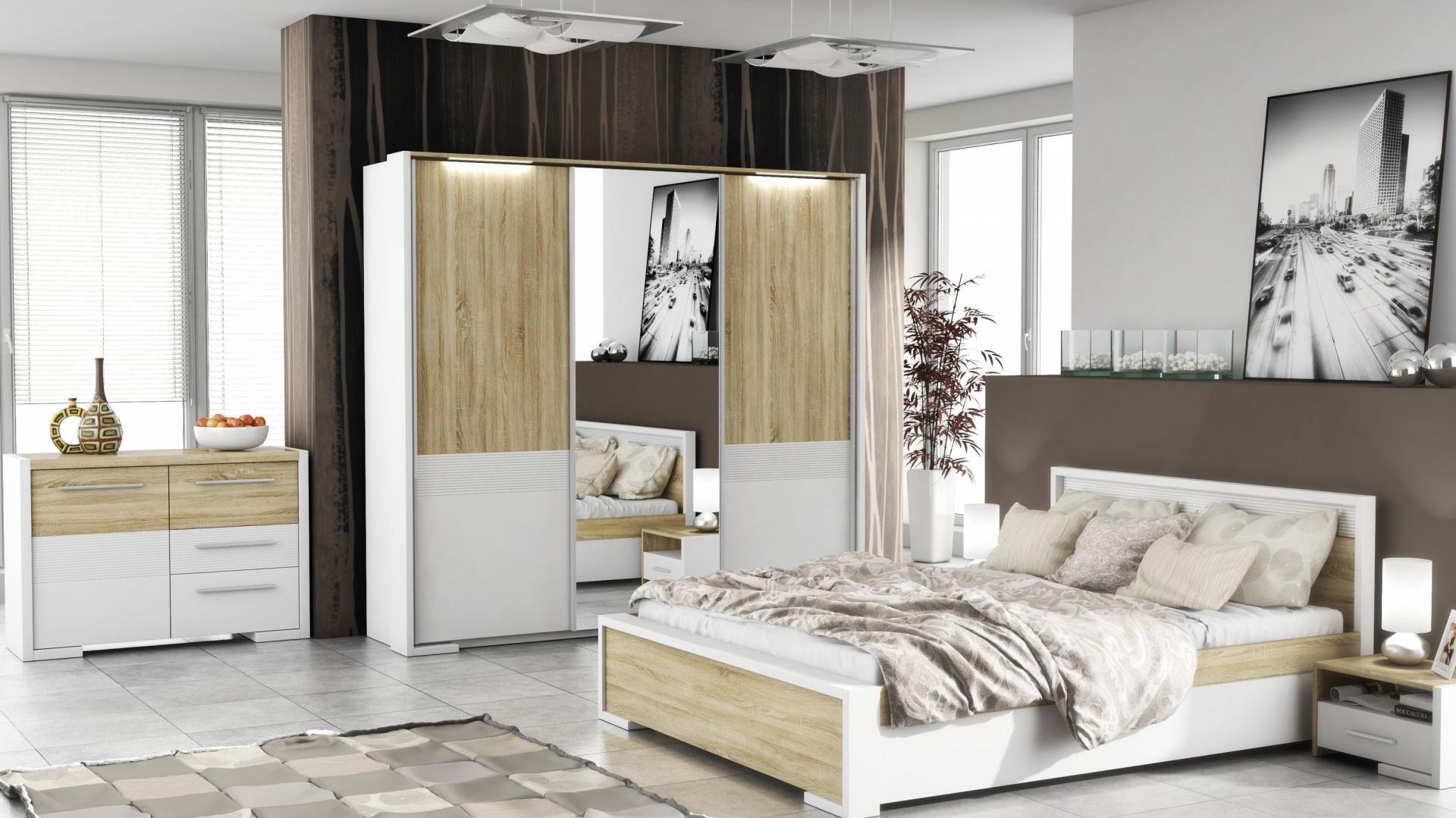 Pomysł Na Sypialnię Białe Meble Ocieplone Drewnem