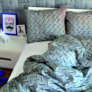 Pościel do sypialni, której wzór przypomina Blaszaną powierzchnię.Tylko z pozoru wygląda zimno i nieprzyjemnie, tak na prawdę jest ciepła i miękka. Fot. Hug the stuff.