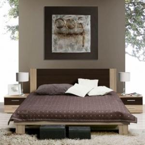 Sypialnia Helen marki Forte prezentuje się bardzo elegancko, dzięki połączeniu delikatnego drewna z brązowymi wstawkami. Fot. Forte.