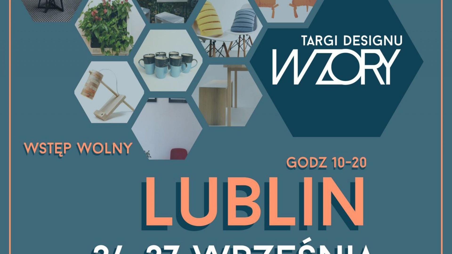 Plakat promujący targi Wzory w Lublinie.