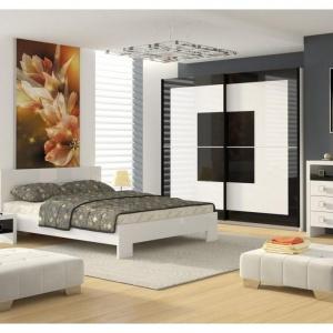 Sypialna Diana to eleganckie zestawienie czerni i bieli. Fot. FM Bravo.