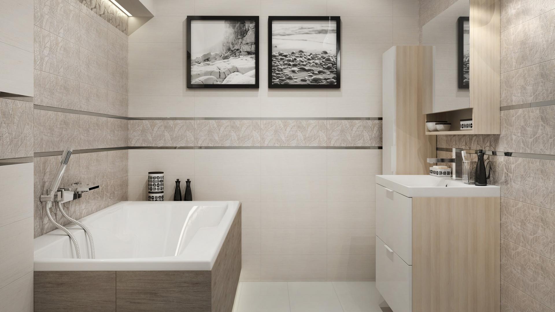 Beżowa łazienka Płytki Ceramiczne W Kolorach Jesieni