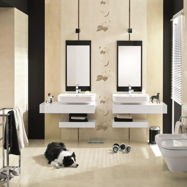 Beżowa łazienka – płytki ceramiczne w kolorach jesieni