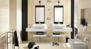 Beże oraz brązy to kolory uniwersalne i ponadczasowe. Płytki w takich odcieniach są świetną bazą dla aranżacji łazienki w różnych stylach. Mile widziane – dekoracje w liście. Bez względu na porę roku.