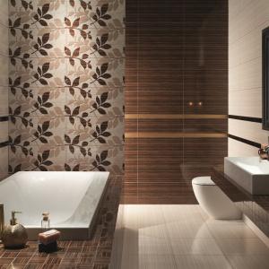 Seria stylizowana na egzotyczne drewno, z dekorami w liście - płytki ceramiczne Palisander. Fot. Tubądzin.