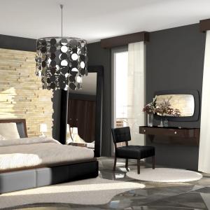 Nowoczesna sypialnia Bosa Nova, wykonana z drewna czereśniowego w modnym kolorze grey. Tapicerowana łóżko posiada oryginalną formę. Fot. Paged Meble.
