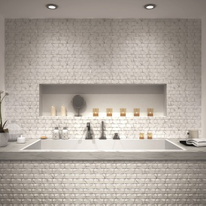 Jak z marmuru - płytki ceramiczne jak cegły Megane Statuario firmy Realonda. Fot. Realonda.