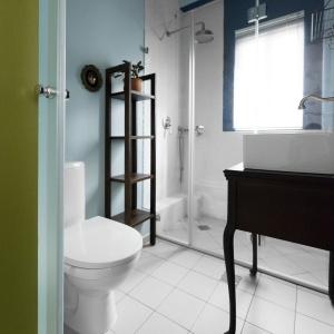 W łazience postawiono na niebieski akcent w postaci przybrudzonego błękitu. Podłogę wykończono takimi samymi płytkami co w strefie dziennej, a całości charakter nadają stylizowane, ciemne meble. Projekt: Studio Raanan Stern. Fot. Gidon Levin.