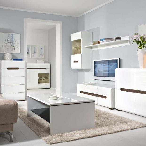 Białe meble do salonu. 12 pięknych kolekcji