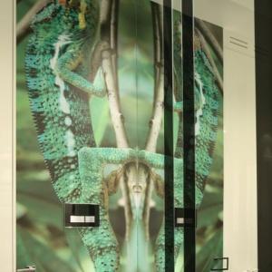 Motyw egzotyczny na ścianie dodaje łazience tropikalnego klimatu. Projekt: Katarzyna Mikulska-Sękalska. Fot. Bartosz Jarosz.