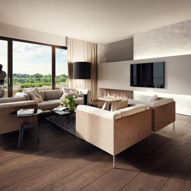 Wnętrze w kolorach ziemi. Elegancki apartament